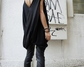 Oversize Twisted Tunic Top/ Black Loose Dress- Tunic / Asymmetrical Top A02068