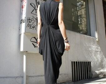 Black Kaftan / Maxi Black Dress / Asymmetrical Tunic A03004
