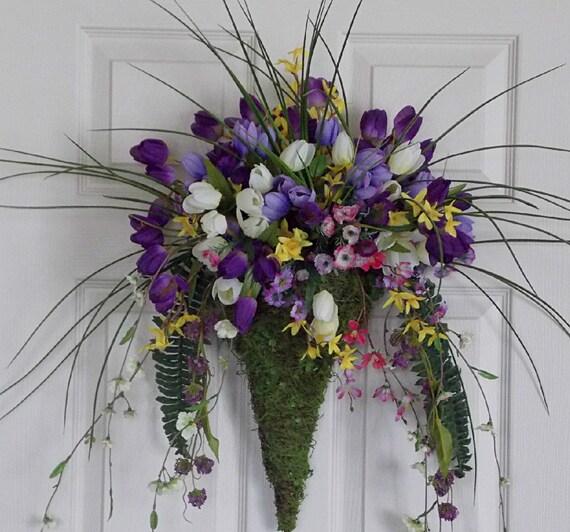 Purple Tulip Wreath Floral Arrangement In Moss Scone For Door