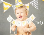 Yellow and Grey Fabric Pennant Banner
