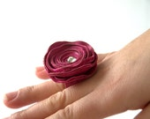 Valentine's Day SALE %30off!Handmade Fuchsia, Hot Pink Leather Rose Ring With Swarovski Crystal, Handmade Jewelry