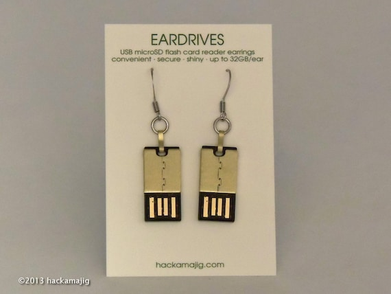 eardrive earrings (add your own flash cards)