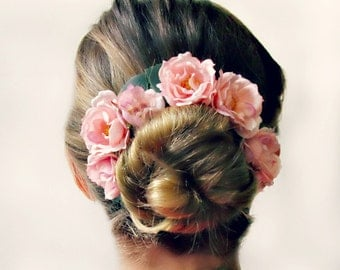 Bun Crown, Romantic Bun Belt, flower crown for your hair bun, floral crown, wreath, pink roses, bridesmaids hair, wedding hair - THE ROSE