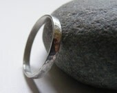 Women's Small 2mm Silver Textured Wedding Band