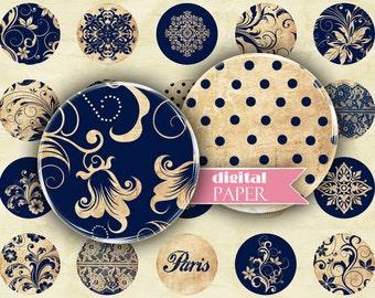 Blue Paris - circles image - digital collage sheet - 1 x 1 inch - Printable Download