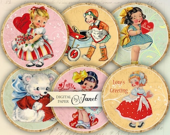 LOVE'S greeting - 2.5 inch circles - set of 12 - digital collage sheet - pocket mirrors, tags, scrapbooking, cupcake toppers