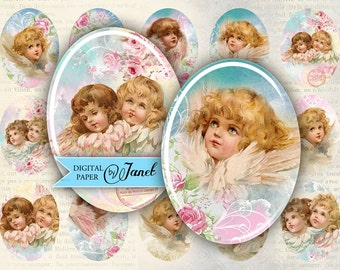 Sweet Angel - oval image - 30 x 40 mm or 18 x 25 mm - digital collage sheet  - Printable Download