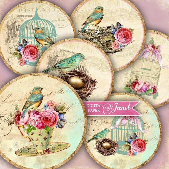 Golden Egg - 2.5 inch circles - set of 12 - digital collage sheet - pocket mirrors, tags, scrapbooking, cupcake toppers