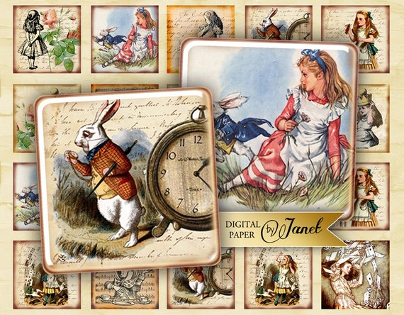 Alice in Wonderland - antique squares - digital collage sheet - 1 x 1 and 1.5 x 1.5 inch - Printable Download