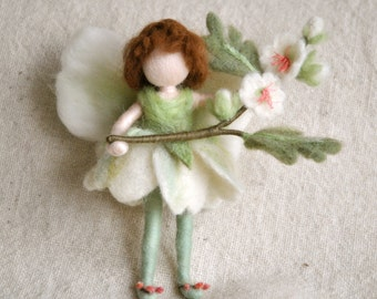 Flower Fairy Waldorf inspired needle felted doll: Spring Fairy