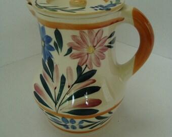 Beautiful Vintage Floral Lidded Pitcher