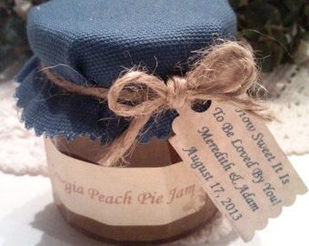 Peach Jam Favors/ Rustic Blue Bridal Shower or Wedding Favors / 25 Custom and Made To Order/4 Oz Each