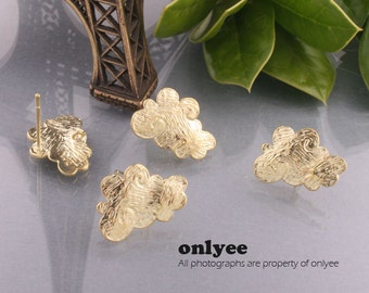 4pair/8pcs-17mmX12mm14K Gold plated Brass textured cloud post earrings (K440G)