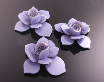 6pcs-40mm Flower Celluloid Cabochon For Accessory,jewely,Art deco and more-Purple(C560P)