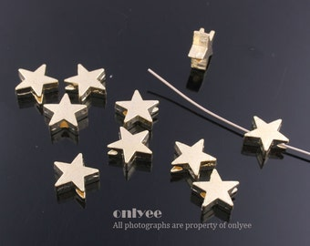 50%off 16pcs-8.5mmGold plated Zinc Alloy Mini star bead,connector, charm(K483G)