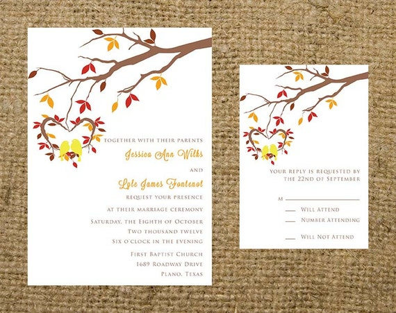 Fall Wedding Invitation Wording: PRINTABLE Love Birds And Tree Leaves Branch Fall By
