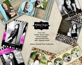 Photoshop Templates for Girl Senior Graduation Cards- Instant Download Four 5x7 PSD Cards, Template Cards - Animal Print