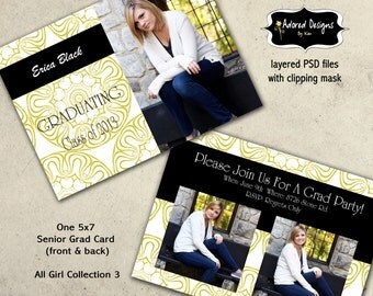 Photoshop Template Teen Girl Graduation Announcement- Instant Download 5x7 PSD Files, Template Card - All Girl Collection 3, card 1