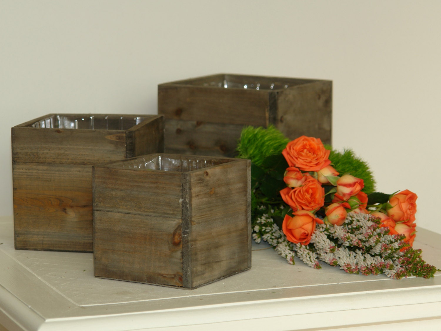Large wood box woodland planter flower rustic pot square