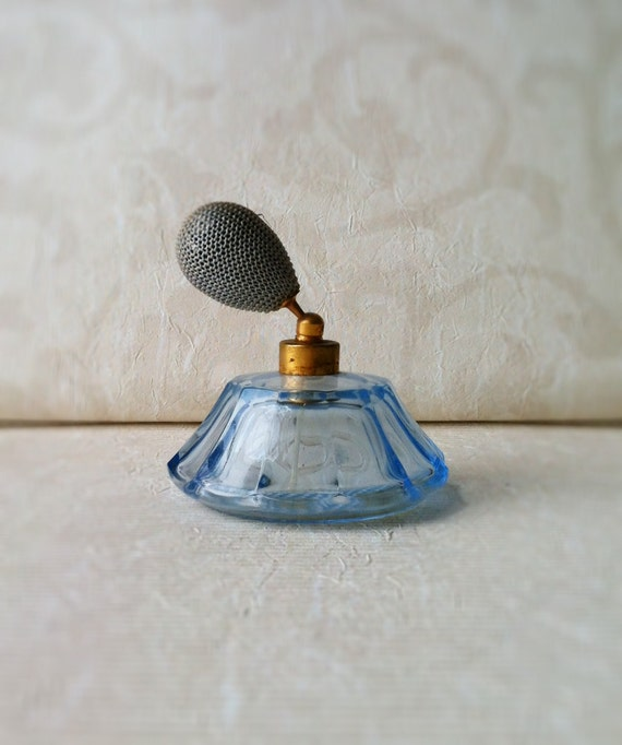 Vintage Perfume Atomizer Blue Bottle with Working Bulb