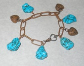 Copper Charm Bracelet with Turquoise and Puff Heart Charms