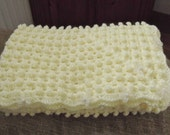 Cream Baby Blanket Hand Crochet.lovely popcorn stitch with pearls Ready For Shippin
