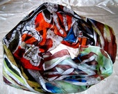 Hand Painted 100%Silk hot batik shawl Coralreef.Silk Scarf. FREE SHIPPING