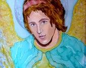 Silk Original batik handpainted  painting Skiey Angel.