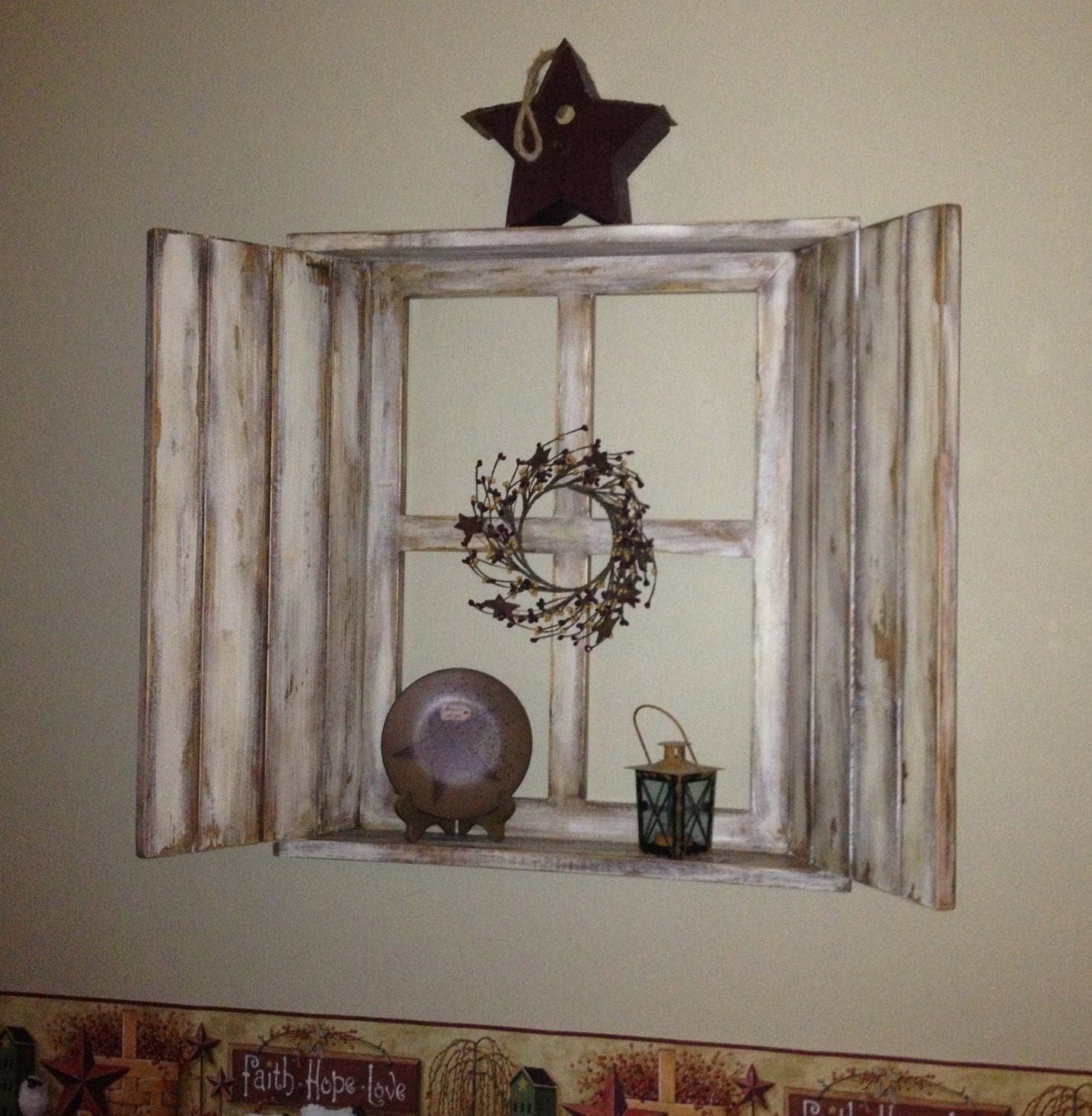 rustic wood window frame 4 pane with shutters attached top and bottom shelves