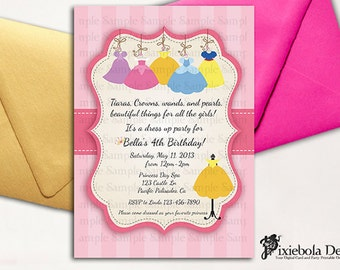 Dress up invitation etsy princess dress up birthday invitation design fee pixiebola designs stopboris