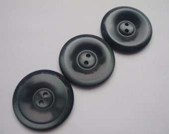 3 Slate Grey Large 2 Hole  Buttons 28mm Acrylic