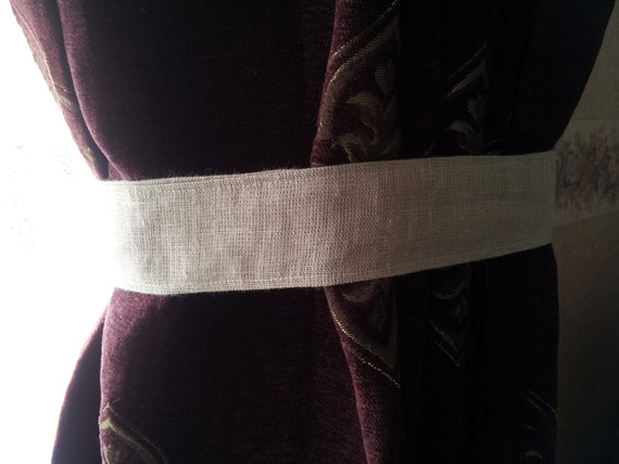Burlap Tie Back Curtain Tieback Linen Tieback By