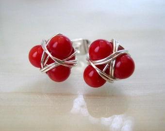 Red Coral Stud Earrings, Red Post Earrings, Cluster Earrings, Red Earrings, Small Stud Earrings, Gifts Ideas