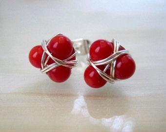 Red Coral Stud Earrings, Red Post Earrings, Cluster Earrings, Red Earrings, Christmas Gifts Small Stud Earrings, Gifts Ideas