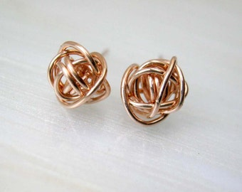 Tiny Rose Gold Stud Earrings - Rose Gold Earrings - Minimalist Earrings -  Bridesmaids Gifts -  Small Studs -  Gift Ideas