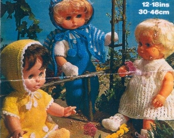 """PDF Vintage Knitting Patterns for Dolls in DK and 4 ply - Sizes 12"""" to 18"""""""