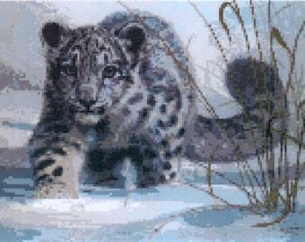 PDF Beautiful Cross Stitch Pattern - Snow Leopard Cub (A14)