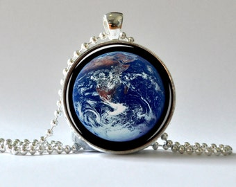 Earth Pendant. Earth Necklace. Blue Marble Earth. Galaxy Necklace. Art Pendant. Glass Dome Pendant, Altered Art Pendant 007