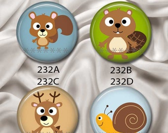 "Forest Friends, Squirrel, Beaver, Deer, Snail - Interchangeable Magnetic Design Inserts - FIT Clique and Magnabilities 1"" Jewelry...232"