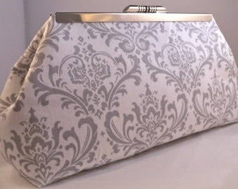 Grey and White Damask Clutch