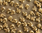 10 pc. Tiny Raw Brass Mushrooms: 6.5mm by 5mm - made in USA | RB-050