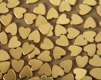 40 pc. Tiny Raw Brass Heart: 5mm by 6mm - made in USA | RB-013