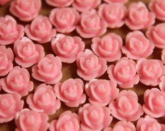 CLOSEOUT- 30 pc. Baby Pink Glossy Polymer Clay Flower Cabochons 8mm | RES-264