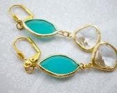 Aqua Blue Crystal Drop Ea...