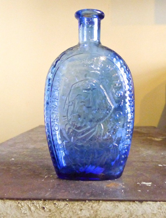 Vintage Blue Glass Bottle George Washington Commemorative