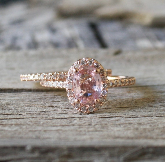 Set Champagne Pink Sapphire Diamond Halo Engagement By