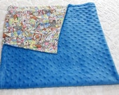Baby Blanket - Blue Minky and Soft Cotton Flannel - Baby Shower Gift Idea