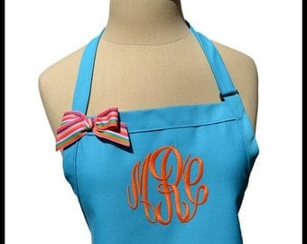 Turquoise Blue Gourmet Monogrammed Apron - Personalized Chef's Gift- Baking Apron- Teacher Birthday Gift- Women's Wedding Bridal bridesmaids