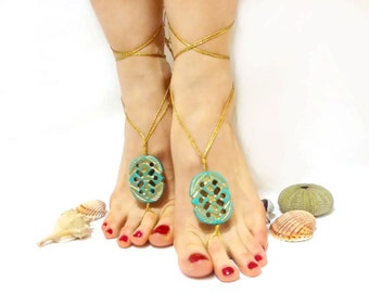 Luxury Golden turquoise Barefoot sandal, Bridesmaid gift, FREE SHIP, Anklet, Golden barefoot sandal, wedding barefoot sandal