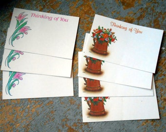 Vintage Florist Cards, Thinking Of You, Florist Supplies, Flowers, Gift Tags, Insert, Mixed Set, Unused, 7 Cards